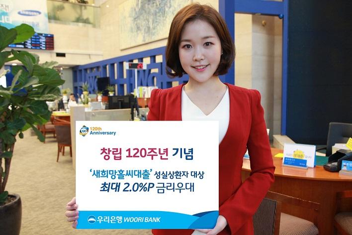 창립 120주년 기념 '새희망홀씨대출' 성실상환자 대상 최대2.0% 포인트 금리우대 우리은행WOORIBANK